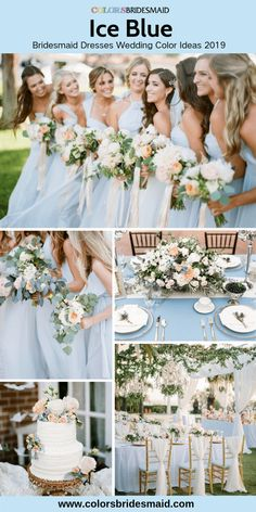 Ice blue bridesmaid dresses long great for spring wedding with ice blue tablecloth bouquets and flowers on the wedding cake. Ice blue bridesmaid dresses long great for spring wedding with ice blue tablecloth bouquets and flowers on the wedding cake. Ice Blue Weddings, Pastel Blue Wedding, Spring Wedding Colors, Baby Blue Wedding Theme, Spring Wedding Cakes, Romantic Weddings, Summer Wedding, Light Blue Bridesmaid Dresses, Blue Bridesmaids
