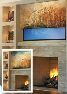 custom printed shade hides television when not in use with artwork - would be great with box around tv Hide Tv Over Fireplace, Fireplace Tv Wall, Fireplace Design, Living Room Tv, Living Room With Fireplace, Tv Escondida, Hidden Tv Cabinet, Tv Wall Cabinets, Tv Covers