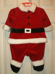 NEW! BABY infant UNISEX 0-3 mo CHRISTMAS SANTA CLAUS outfit 1pc boy girl CUTE!