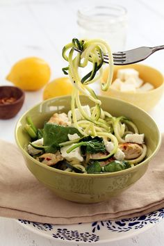 Zucchini Noodles with Chicken, Feta and Spinach ( I can do it without the chicken to make a vegetarian version.)