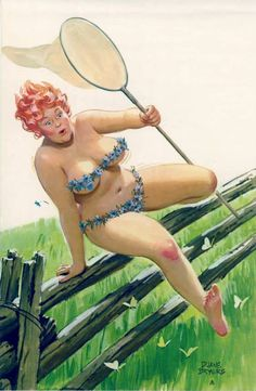 Hilda Butterfly Catcher Vaulting Vintage pin up girl Duane Bryers calendar illustration watercolor on Canvas Pinup Wall Art print poster 612 Dita Von Teese, Pin Up Pictures, Estilo Pin Up, Modelos Plus Size, You Go Girl, Marylin Monroe, Fat Women, Pin Up Art, Nature