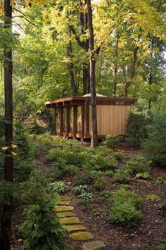 backyard studio of mid century modern home - ann arbor, mi