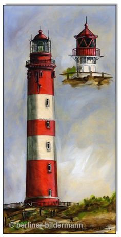 """Amrumer Leuchtturm""; Acryl auf Leinwand; 30×60 cm (11.8"" x 23.6"")"