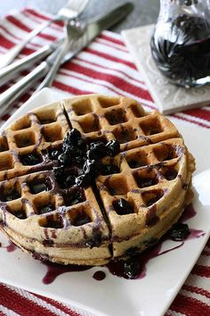 Whole Wheat (not a half and half mix) Waffles with Blueberry Maple Syrup