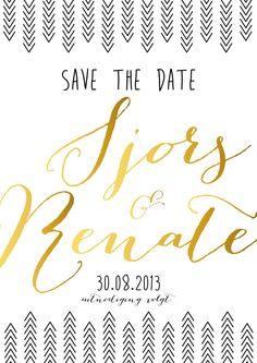 Save the date bruiloft goud zwart handlettering kaart pijlen krijtperk