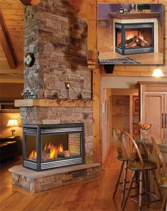 3 Sided Fireplace Design, Pictures, Remodel, Decor and ...