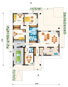 Bungalows, Indian House Plans, Small Modern Home, Indian Homes, Ground Floor Plan, Bed Reviews, House Floor Plans, Planer, Interior Decorating