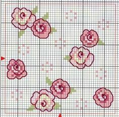Flowers---- doll house walls or floors Tiny Cross Stitch, Cross Stitch Flowers, Cross Stitch Charts, Cross Stitch Designs, Cross Stitch Patterns, Ribbon Embroidery, Cross Stitch Embroidery, Embroidery Patterns, Crochet Cross