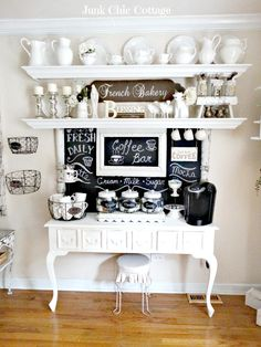 coffee bar...holy white pitchers batman...Wow, too adorable!