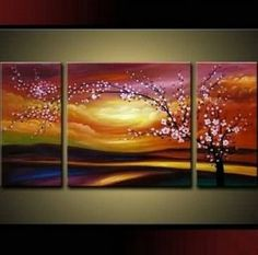 Plum Tree Blossom 100% Hand Painted Abstract Wall Canvas Art Sets Painting for Home Decoration Oil Painting Modern Art Large Canvas Wall Art Free Shipping 3 Piece Canvas Art Unstretch and No Frame | Home Style Studio