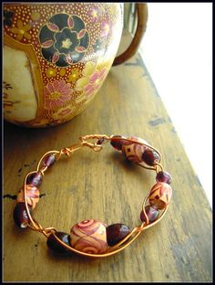 Copper braided BRACELET  Redcarameldeep purple  by AppoloniasGifts, $27.95
