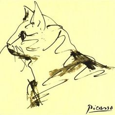 Pablo Picasso (España, 1881-1973). Drawing of cat.
