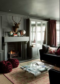 Grays and a head over the fireplace