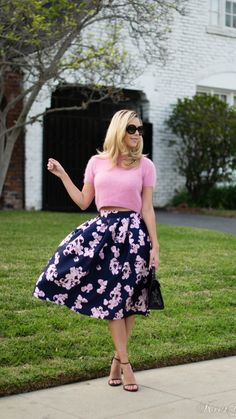 Pink on Navy Floral Midi Skirt by Kier Mellour
