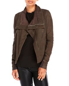 RICK OWENS Cropped Asymmetrical Suede Jacket