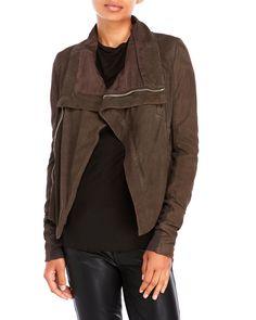 RICK OWENS Cropped Asymmetrical Suede Jacket