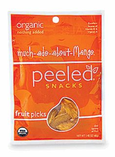 The 50 Best Snack Foods in America 10. Best Fruit Snack Peeled Snacks Much-Ado-About Mango  Per bag: 120 calories 28 g carbohydrates 2 g protein 2 g fiber  Think of Peeled Snacks' Much-Ado-About-Mango like a Fruit Roll-Up for adults. It contains no added sugars or artificial ingredients, just organic mango. That's how each bag ends up with nearly a third of your day's vitamin A.