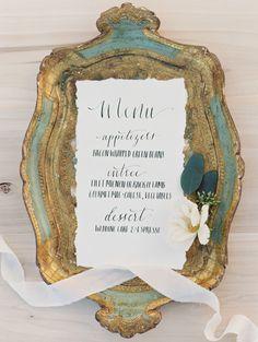 wedding menu card idea; photo: Brushfire Photography