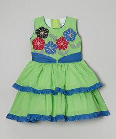 Green Floral Tiered Ruffle Dress - Toddler & Girls