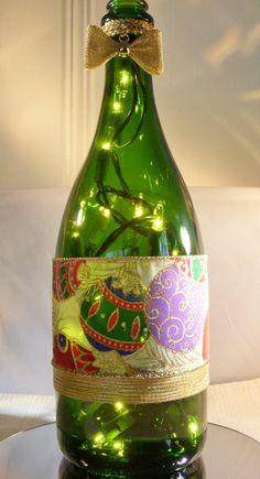 Recycled Champagne Bottle Lamp Christmas by EcoArtbyNancy on Etsy, $25.00