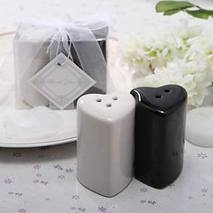 Ceramic Double Hearts Salt & Pepper Shakers Wedding Favor (Set of 2) – USD $ 1.99