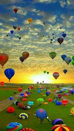 Hot Air Balloon Festival in  Chambley, France. It is the largest hot air balloon festival in the world.