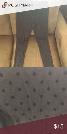 Grey Dotted Leggings Thin grey leggings with black polkadots! Ankle length Old Navy Pants Leggings
