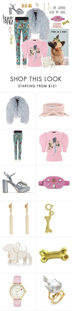 """""""Welcome to the year of the dog!"""" by juliabachmann ❤ liked on Polyvore featuring Francesco Scognamiglio, Valentino, Gucci, Dolce&Gabbana, Miu Miu, Haute Hippie, Isabel Marant, Thom Browne, Kate Spade and Tara"""