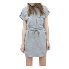 Women's Fashion Solid Short Sleeve Shirt Dress With Belt ($23) ❤ liked on Polyvore featuring dresses, light grey, light grey dress, collar dress, light gray dress, shirt dress and dresses with belts