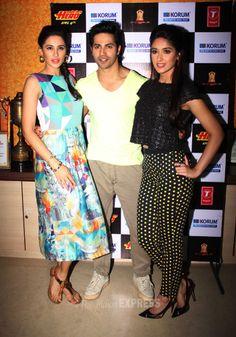 Ileana D'Cruz and Nargis Fakhri were spotted with their 'Hero' Varun Dhawan promoting their upcoming film 'Main Tera Hero' in Mumbai. #Style #Bollywood #Fashion #Beauty