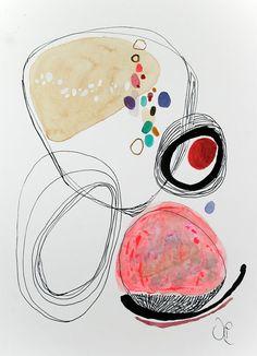 """Zeitgenössische moderne Kunst - einer Original-abstrakte Gemälde auf Aquarellpapier 9 """"x 12,3""""."""