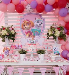Paw Patrol Birthday Party for Girls Girl Paw Patrol Party, Sky Paw Patrol, Paw Patrol Birthday Theme, 2nd Birthday Party Themes, Paw Patrol Cake, 4th Birthday, Paw Patrol Party Decorations, Baptism Party Decorations, Sky Quotes