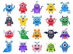 Cute cartoon monsters comic halloween joyful vector image on VectorStock Halloween Mignon, Fete Halloween, Costume Halloween, Halloween Vector, Funny Halloween, Cartoon Monsters, Cute Monsters, Monster Party, Scary Funny