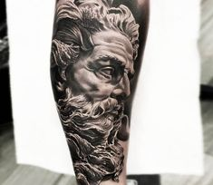 Sculpture of Neptune tattoo by Bolo Art Tattoo