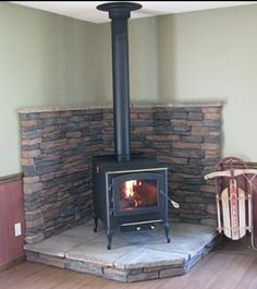 Hearth idea for pellet stove in kitchen sitting area.