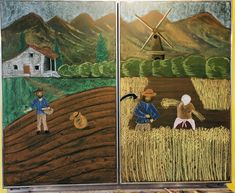 #Waldorf #waldorfschule #ackerbau #3rdgrade #dritteklasse #waldorfschool #tafelbild #ackerbauepoche Chalkboard Drawings, Third Grade, Farming, Painting, Art, Mother Earth, 3 Year Olds, First Grade, Pictures
