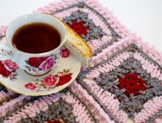 Tea Time Crochet Granny Square   AllFreeCrochetAfghanPatterns.com