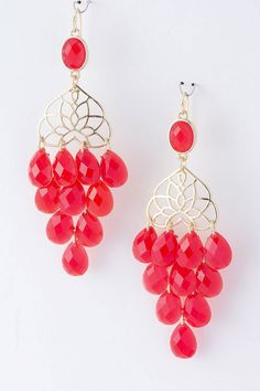 Strawberry Toccara Chandelier Earrings on Emma Stine Limited