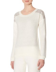 Embellished Shoulder Sweater - Spruce up a dreary day with captivating shine! A dramatic gem embellishment shines brilliantly on this soft sweater with on-trend styling.