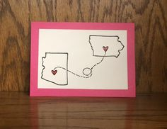 PINK State to state Card-Miss you, Long Distance Relationship, Friends Forever, Miss you card, Fathers Day card on Etsy, $6.00