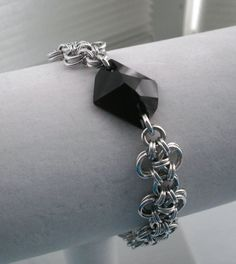 Silver Chainmaille Bracelet with Jet by EdgeMetalElegance on Etsy, $50.00