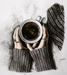 Girly Drawings, Pencil Art Drawings, Easy Drawings, Art Sketches, Coffee Artwork, Coffee Painting, Cute Girl Drawing, Doodle Art Journals, Wow Art