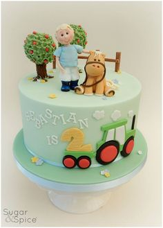 Sugah r & Spice Gourmandise Gifts Tractor Birthday Cakes, Themed Birthday Cakes, First Birthday Cakes, Themed Cakes, Cakes Without Fondant, Cake Design Inspiration, Farm Cake, Pony Cake, Horse Cake