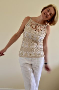 "Natural cotton crochet top ""Flowers"""