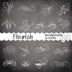 Flourish Swirls Clip Art Chalkboard, Wedding Invitation, Floral Flower Leaf…