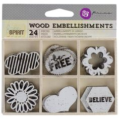 Prima Marketing Free Spirit Laser Cut Wood Icons In A Box 24 Pieces-6 Styles Of Embellishments
