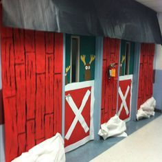 Image result for santa's reindeer barn Stall Decorations, School Door Decorations, Office Christmas Decorations, Christmas Door Decorations, Cubicle Decorations, Cubicle Ideas, Christmas Classroom Door, Christmas Room, Christmas Carol