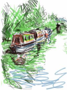Craig Longmuir, 'Canal boats', iPad drawing