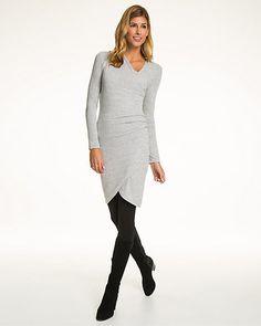 Mélange Jersey Faux Wrap Dress