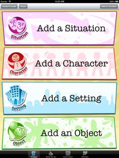 Boost students' creative writing skills with writing prompts that will spark their imaginations. This writing prompt generator is quick and easy to use; your students will have an inspiring writing topic in seconds. Just tap the screen to pick a situation, a character, a setting, and an object. #Colorforms #Creativity